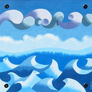 Mark Webster - Abstract Geometric Ocean Seascape Oil Painting on Wood Panel
