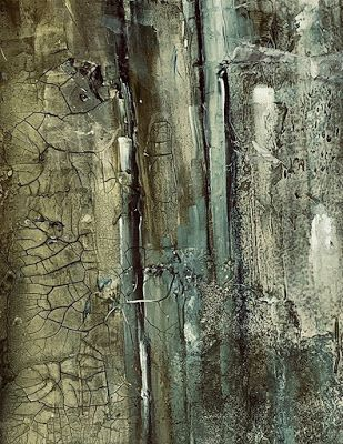"""Green Art, Abstract Painting, Mixed Media Contemporary Art """"THE GROWING WALL"""" by Florida Artist Mary Ann Ziegler"""
