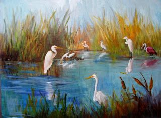 Marsh Birds of Pt Bolivar,Tx, Barbara Haviland,Texas Artist