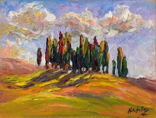 "New ""Rolling Shadows,"" Tuscany Palette Knife Oil Painting by Niki Gulley"