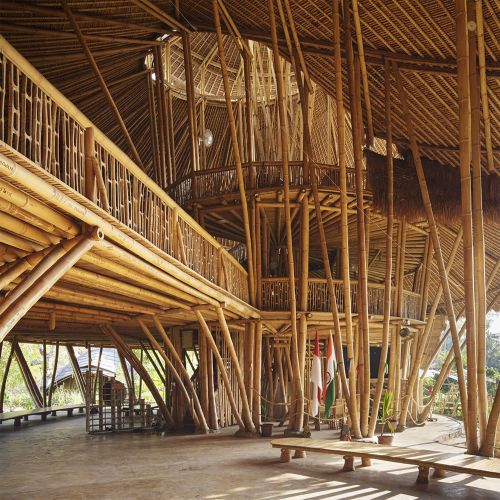 Spiraling Nautili Rooftops Cover a Multi-Story School Made Entirely of Bamboo in Bali