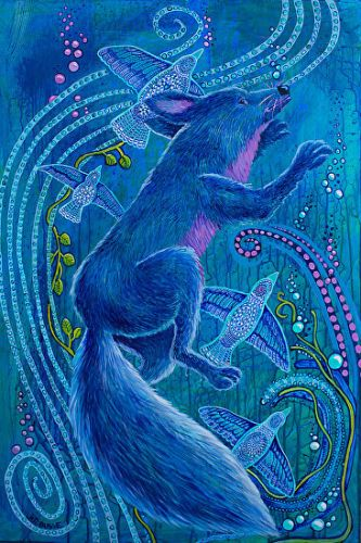 "Native American Folklore Art,Colorful Contemporary Wildlife Art Painting , Native American Art,""WHEN COYOTE WAS BLUE"