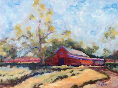 "Red Barn, Farm Landscape Fine Art Painting ""America Homeland"" by Georgia Artist Red Barn, Farm Landscape Fine Art Painting"