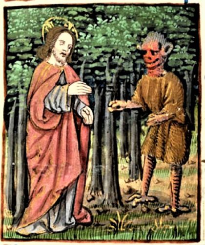 Lent - Temptations in the Wilderness - Christ & Satan 15C