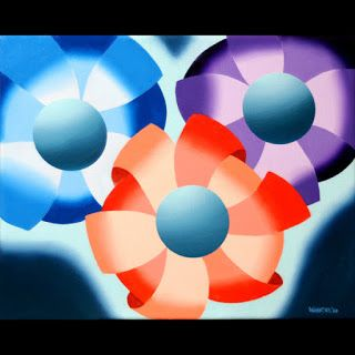 Mark Webster - Abstract Futurist Flowers 2 Oil Painting