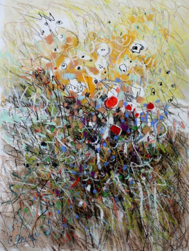 Scribbly Flowers and Field, by Carol Engles
