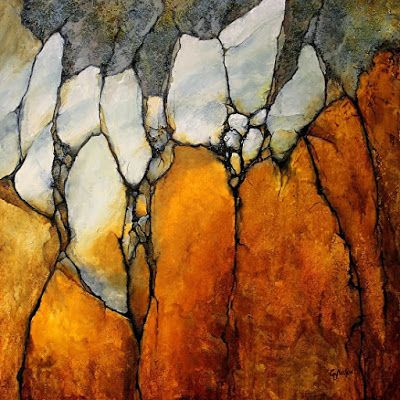 "Geological Abstract Fine Art Giclee' ""Marble Palisade"" by Colorado Mixed Media Abstract Artist Carol Nelson"