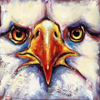 ORIGINAL CONTEMPORARY BALD EAGLE on CANVAS in OILS by OLGA WAGNER