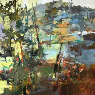 """Contemporary Landscape Painting, Abstract Art,Acrylic """"Vertical Triumph"""" by Intuitive Artist Joan Fullerton"""
