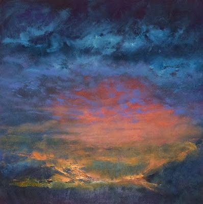 """Contemporary Landscape Fine Art Oil Painting, Sunset, Red Sky """"Fiery Ending"""" by Colorado Artist Susan Fowler"""