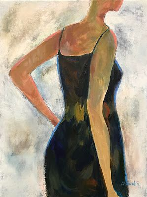 "Abstract Figurative Painting,Fine Art Painting,Blue Dress ""She Wore Blue Velvet"" by Oklahoma Artist Nancy Junkin"