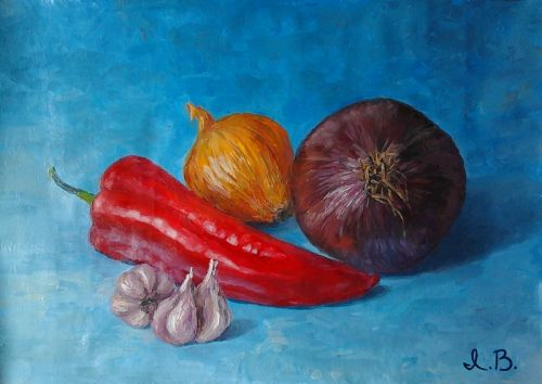 "Original oil painting ""Still life with red pepper"". Size 9,5 x 13,6 inch (24 x 34,5 cm). Unstretched canvas."