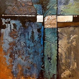 """Contemporary Abstract Mixed Media Abstract Painting, """"Celebration of Blue"""" © Carol Nelson Fine Art"""