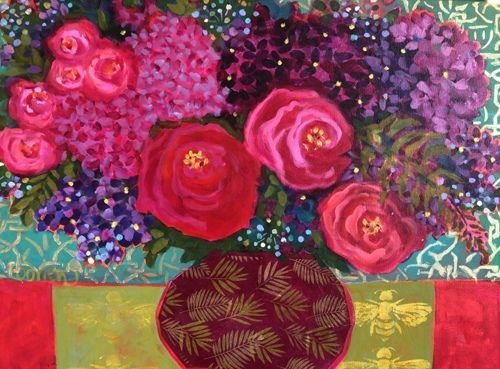 "Contemporary Abstract Bold Expressive Still Life Flower Art Painting, ""Roses, Hydrangeas & Friends"" by Santa Fe Artist Annie O'Brien Gonzales"