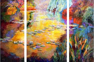 """Reflective Radiance"" textured oil painting of Monet's Garden by Niki Gulley"