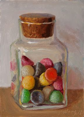 Gummy candy in a bottle daily painting a painting a day small original