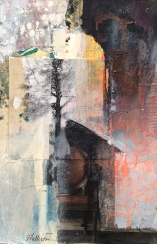 "Mixed Media,Collage Art Painting ""To Sit in Stillness"" by Intuitive Artist Joan Fullerton"