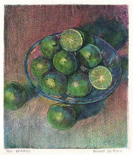 Monotype Print Still Life Art - adding Colored Pencil to your Print