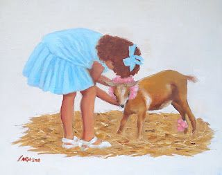 Dressing Up, Original Oil Painting of Girl with Baby Goat