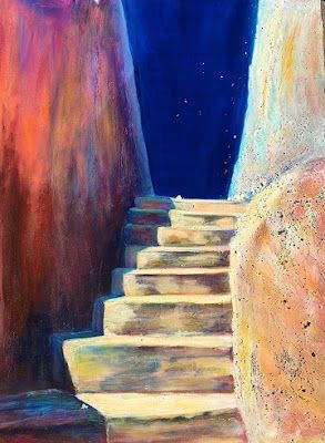 """Contemporary Architectural Painting, Stairway """"Stairway to the Stars"""" by California Artist Cecelia Catherine Rappaport"""