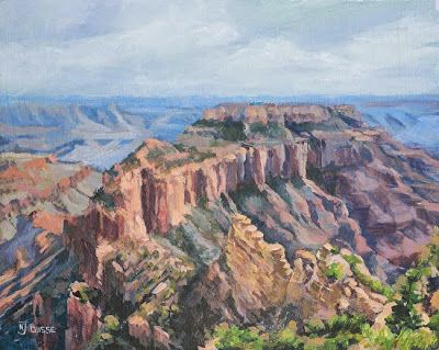 """Western Landscape Painting, Grand Canyon """"WOTAN'S THRONE"""" by Colorado Artist Nancee Jean Busse, Painter of the American West"""
