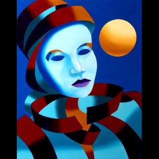 Mark Webster - Abstract Blue Mask with Gold Sphere Oil Painting