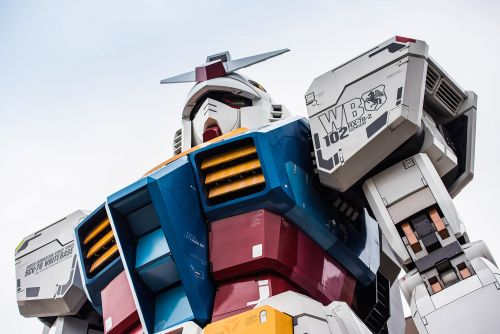 The World's Largest Robot Walks, Kneels, and Points Toward the Sky Above Japan