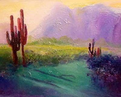 "Mixed Media Abstract Landscape Painting ""Desert Sunset"" by California Artist Cecelia Catherine Rappaport"