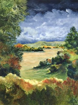 "Contemporary Landscape Painting,Textured Art, Mixed Media, Fine Art For Sale ""Pleasant Valley"" by Contemporary Artist Liz Thoresen"