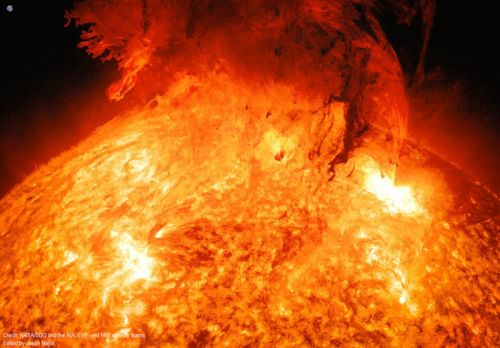 This Photo Shows a Solar Coronal Mass Ejection with the Earth for Scale