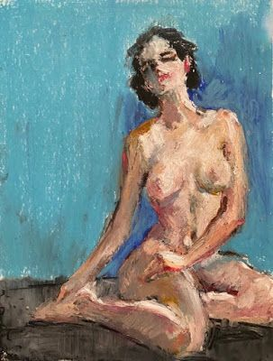 Seated Nude on Blue - original oil pastel nude