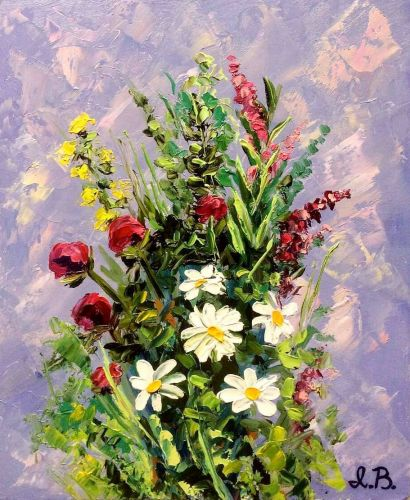 "Original oil painting ""Bouquet of wildflowers"". Size 8 x 10 inch (20 x 25 cm). Hardboard"