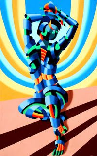 Mark Webster - Mandy on the Staircase - Abstract Geometric Figurative Painting