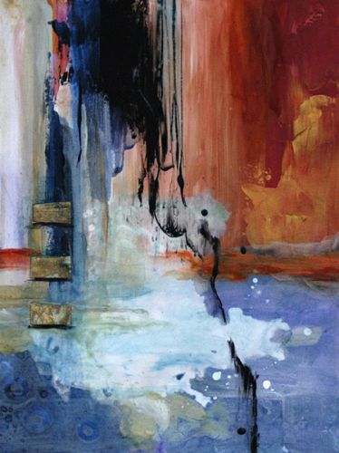 """Contemporary Abstract Mixed Media Painting """"Afterglow"""" by Santa Fe Contemporary Artist Sandra Duran Wilson"""