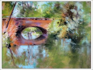 The Bridge, Saint Germaine..Pastel.Texas Artist..Rae Andrews