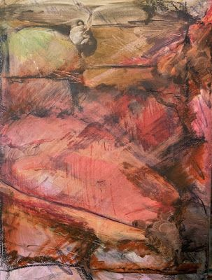"Abstract Mixed Media Art, Contemporary Painting, ""A RED WALL"" by Florida Contemporary Artist Mary Ann Ziegler"