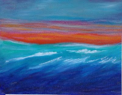 "Abstract Seascape Painting, Sunset, Mixed Media Painting, Contemporary Art, ""Seascape Sunset"