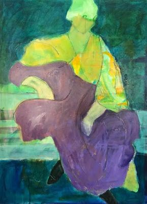 """Abstract Figurative Fine Art Painting,Expressionist Painting, Portrait """"REMINISCENCE"""" by Oklahoma Artist Nancy Junkin"""