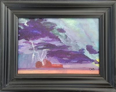 """Contemporary Landscape Art Painting, Stormy Sky, """"Storm on the Prairie"""" by Arizona Abstract Artist Cynthia A. Berg"""