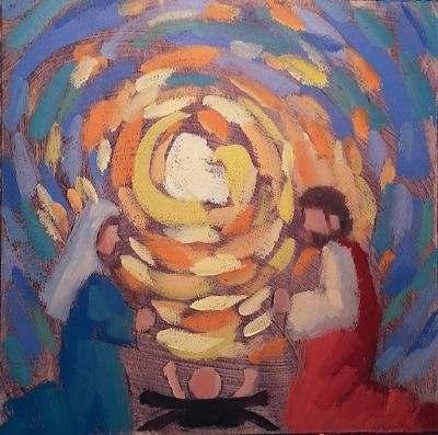 Holy Family Christmas Nativity Original Oil Painting and Prints