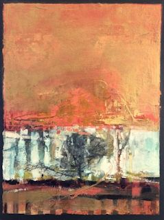 """Abstract Mixed Media,Landscape Art Painting, """"Solitary Life"""" by Intuitive Artist Joan Fullerton"""
