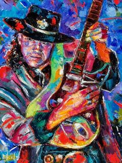 "Stevie Ray Vaughan Art Painting ""Hat and Guitar"" by Texas Artist Debra Hurd"
