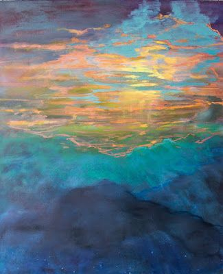 """Contemporary Sunset Landscape Oil Painting, """"Sunset Above the Clouds II"""" by Colorado Artist Susan Fowler"""