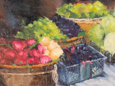 KM3094 Abundance by Colorado artist Kit Hevron Mahoney (18x24 urban, market scene, fruit, original oil)