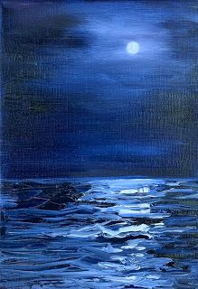 By the Light of the Moon, by Melissa A. Torres, 5x7 oil on linen, framed