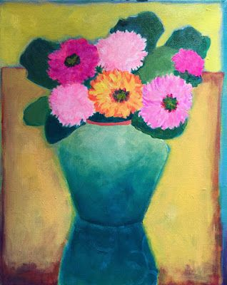 """Bold Colorful Expressionist Still Life Art Painting, Flowers, Floral Painting """"Las Flores"""" by Santa Fe Artist Annie O'Brien Gonzales"""