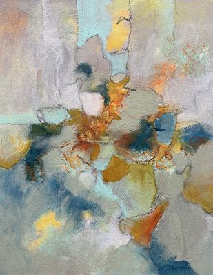"""Abstract Painting, Mixed Media, Expressionism,Contemporary Art, """"Bird on a Wire"""" by Contemporary Artist Liz Thoresen"""
