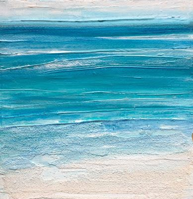 """Mixed Media Abstract Seascape Painting """"ILLUMINATED SURF"""" by California Artist Cecelia Catherine Rappaport"""
