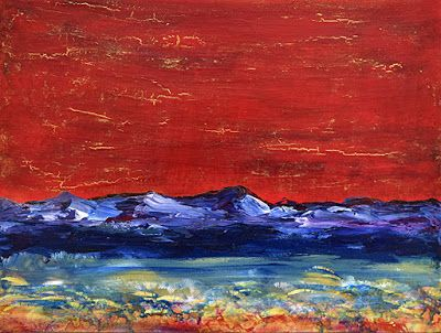 "Mixed Media Abstract Landscape Art Painting ""The Land of Joy"" by Santa Fe Contemporary Artist Sandra Duran Wilson"