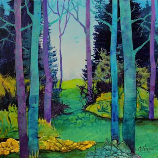 "Mixed Media Collage Landscape Painting,Trees ""Walking in the Woods"" © Carol Nelson Fine Art"
